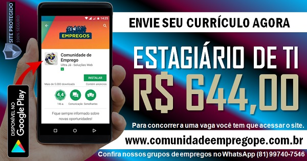ESTAGIÁRIO DE TI COM BOLSA DE R$ 644,00 PARA EMPRESA CONTÁBEIS