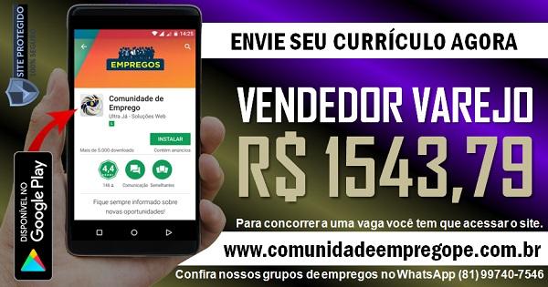 VENDEDOR VAREJO COM SALÁRIO R$ 1543,79 PARA EMPRESA DE LÁCTEOS NO CABO DE SANTO AGOSTINHO