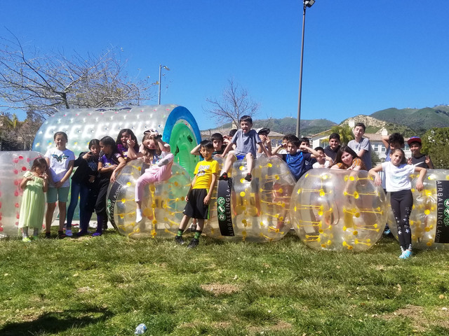 Human Hamster Ball and Bubble Soccer Rental serviced for a birthday Porter Ranch, Califronia on March 17, 2019.