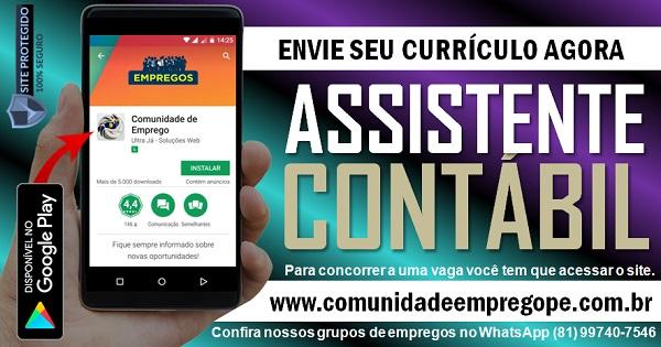 ASSISTENTE CONTÁBIL PARA EMPRESA DO SEGMENTO CONTÁBEIS NO RECIFE
