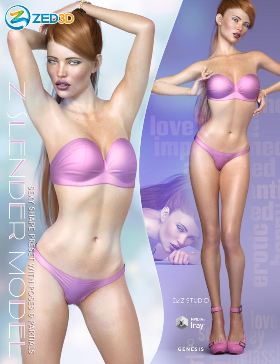 Z Slender Model Shape Preset and Poses for Genesis 8 Female