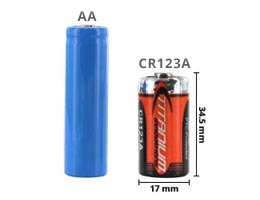 CR123A battery size compared to a AA battery