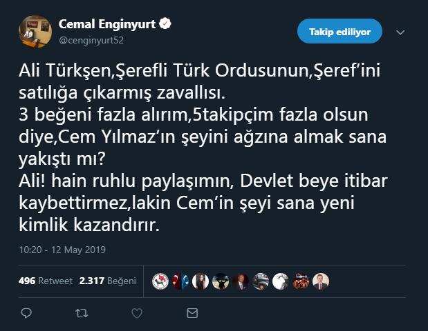 Cemal Enginyurt tweet