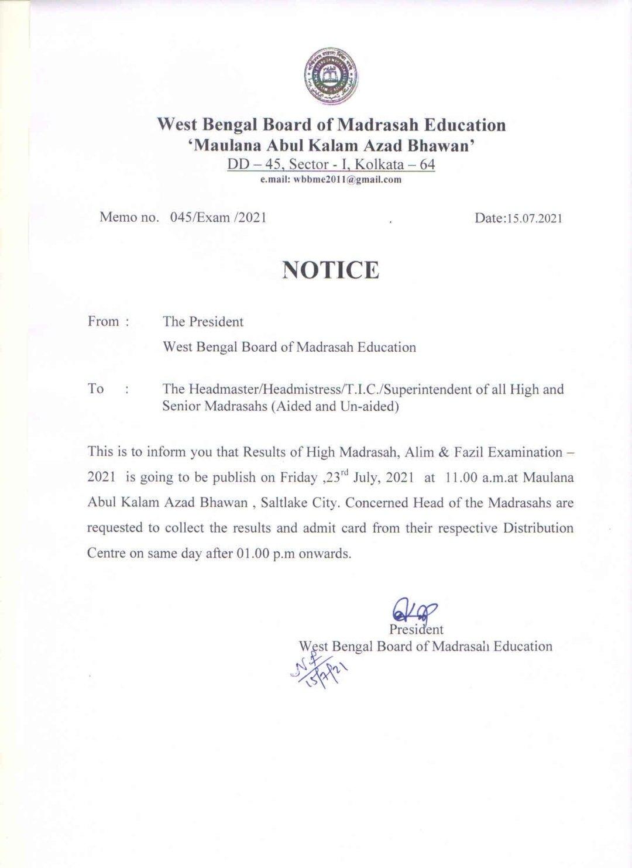 WBBME Madrasah Result 2021
