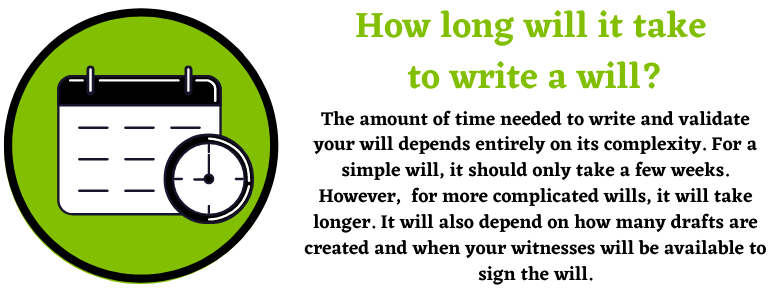 How long will it take to write a will