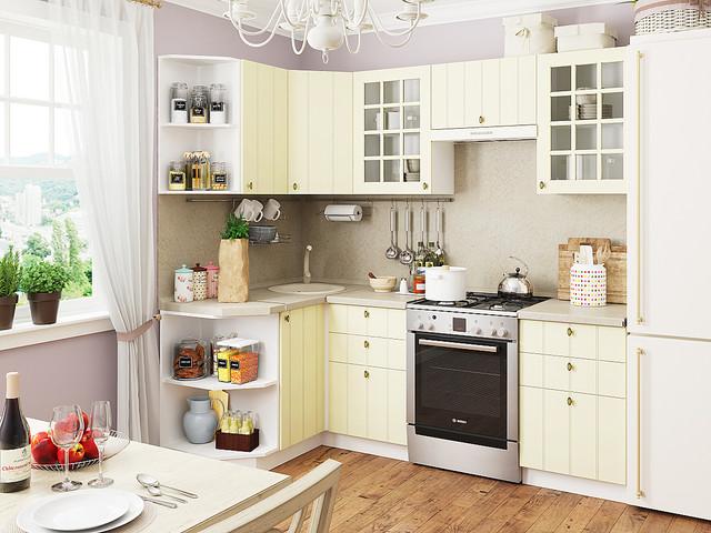 угловая красивая кухня