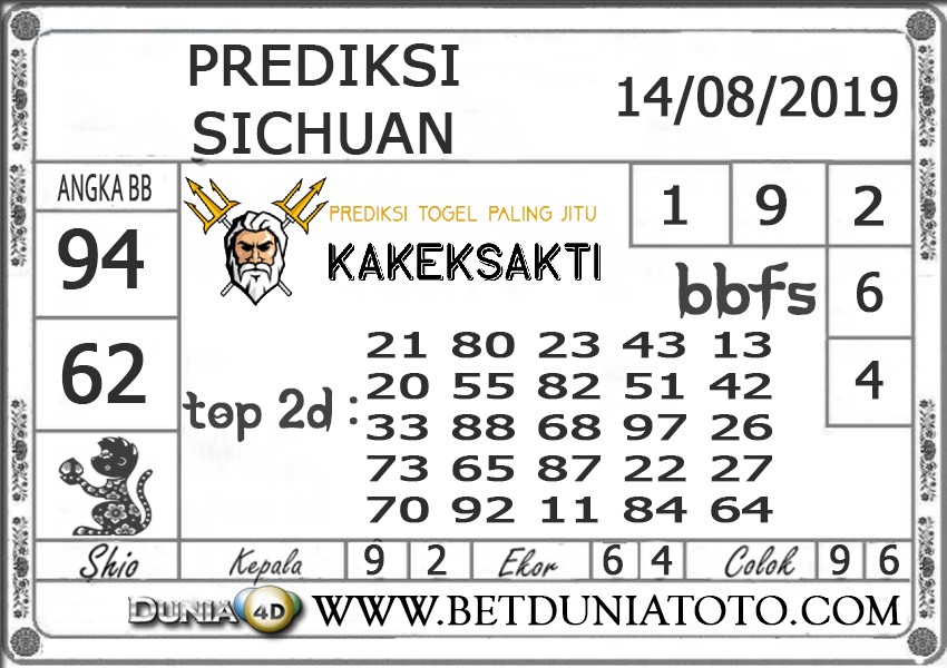 """Prediksi Togel """"SICHUAN"""" DUNIA4D 14 AGUSTUS 2019"""