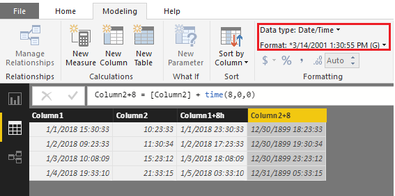 Power BI desktop how to add a column which is add 8 hours based on another time column2