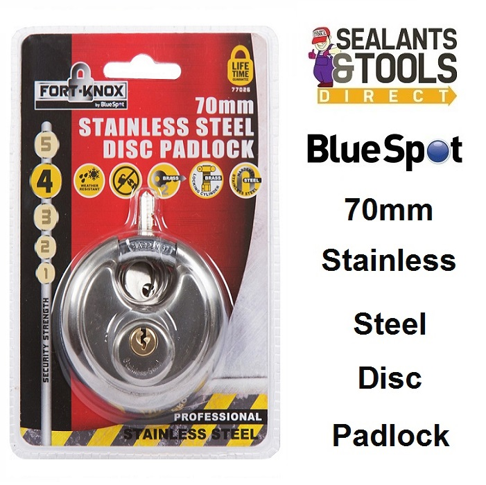 For Knox 70mm Stainless Steel Disc Padlock 77026 Blue Spot