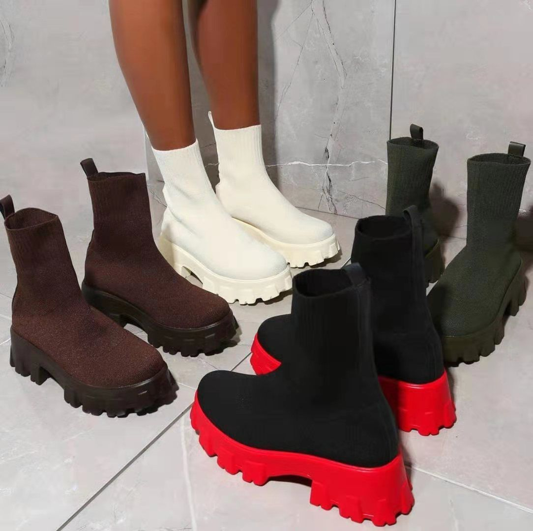 0-Autumn-New-Socks-Shoes-Woman-Stretch-Fabric-Mid-Calf-Casual-Platform-Boots-Net-Red-Knitted-Short-1