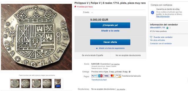Aberración: 8 reales falsos por 9 mil euros em eBay Sin-nombre