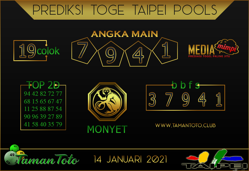 Prediksi Togel TAIPEI TAMAN TOTO 14 JANUARI 2021