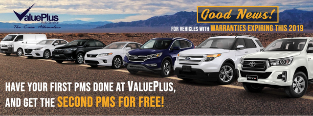 Car Shop Promos: Book your PMS with ValuePlus and get the second PMS for FREE