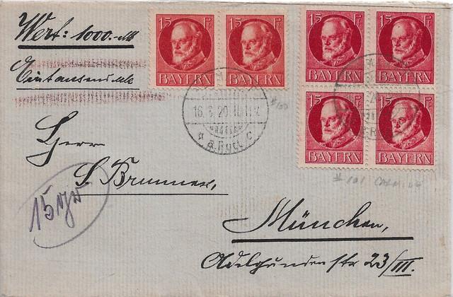 Germany-Bavaria-1920-8-16-Insured-cvr-cv-305-in-2007-pair-and-block-Mi115-Ac-Mi115ab-NICE-TSF-1-19-s