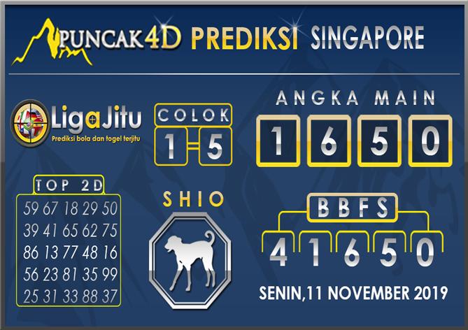 PREDIKSI TOGEL SINGAPORE PUNCAK4D 11 NOVEMBER 2019