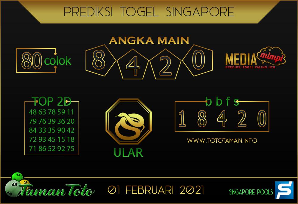 Prediksi Togel SINGAPORE TAMAN TOTO 01 FEBRUARI 2021