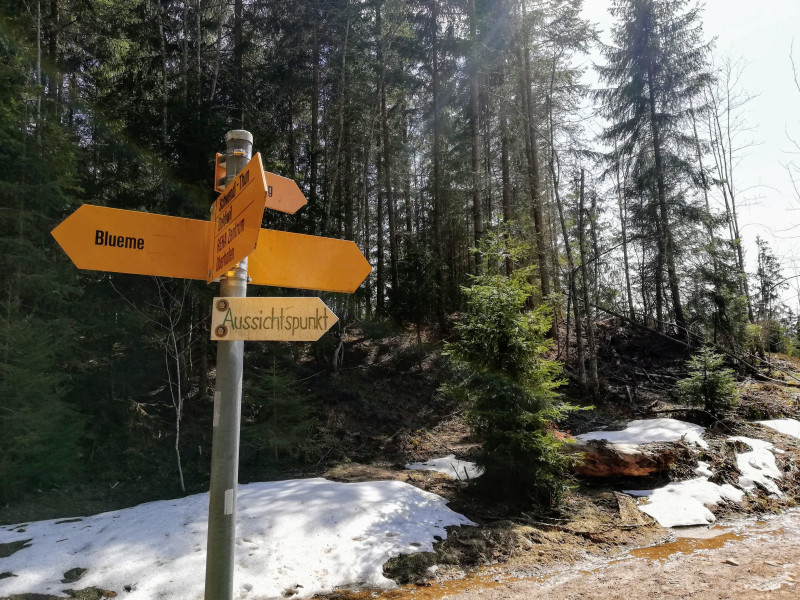Hiking trail sign Blueme vs Aussichtspunkt