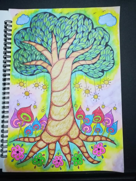fancy tree coloring page