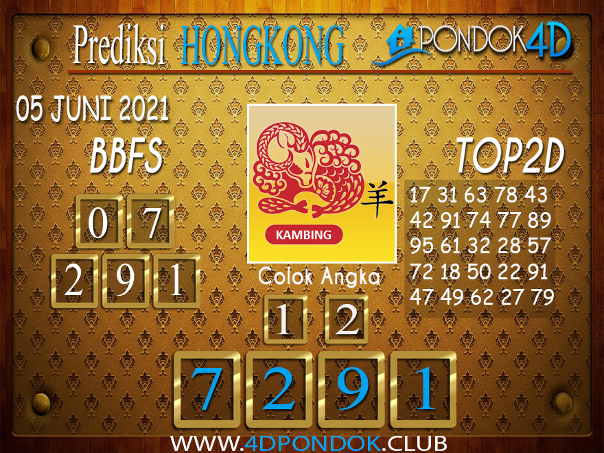 Prediksi Togel HONGKONG PONDOK4D 05 JUNI 2021