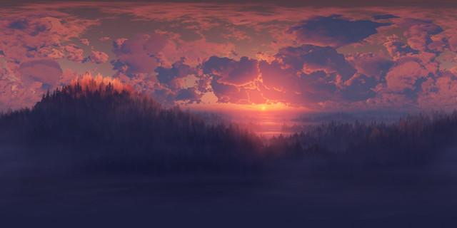 General 3840x1920 artwork digital art sunset clouds landscape dark sky nature sunlight