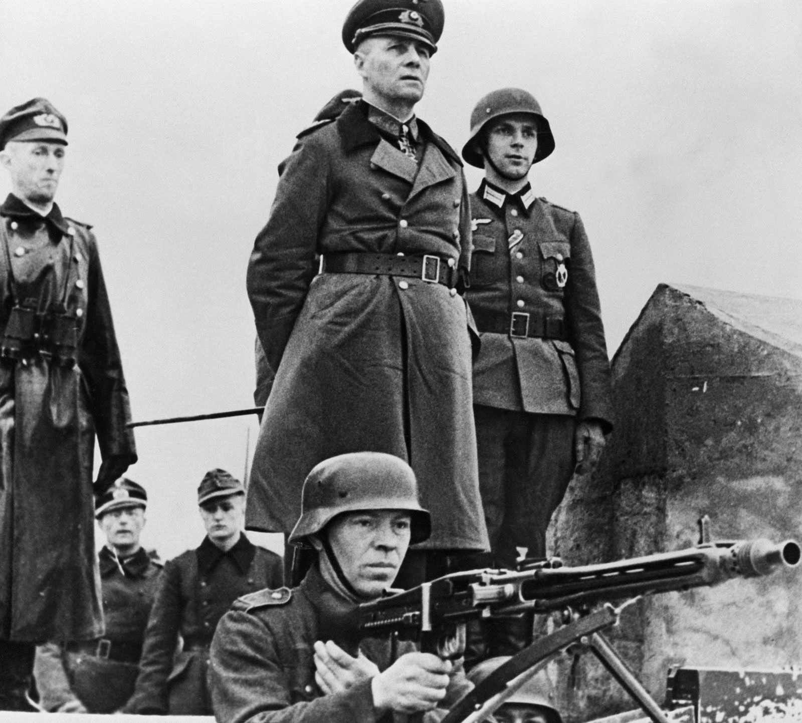 General-Field Marshal of the German Army Erwin Rommel inspects the coastal defenses of Normandy, 1944 (Archive photos)