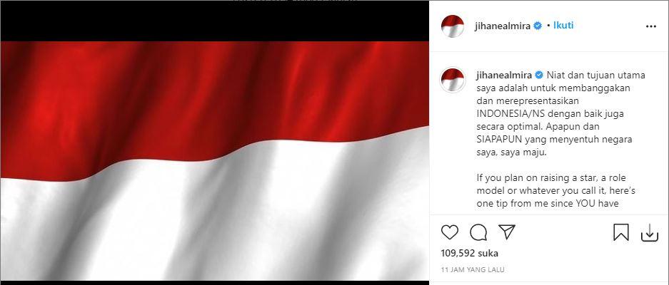 Unggahan Jihane Almira menyusul beredarnya video Andre Sleigh yang diduga menghina Indonesia