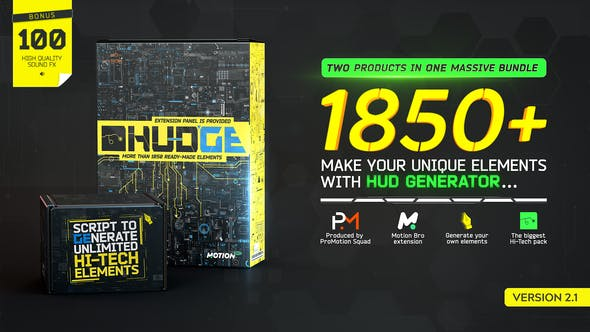 HUDGE   Generator of Hi-Tech Elements   1850+ UI HUD - Project & Script for After Effects (Videohive)