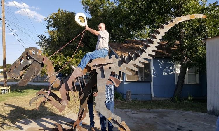 steel dinosaur garden art display feature