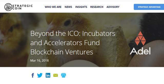Strategic Coin Beyond the ICO Incubators and Accelerators Fund Blockchain Ventures Adel