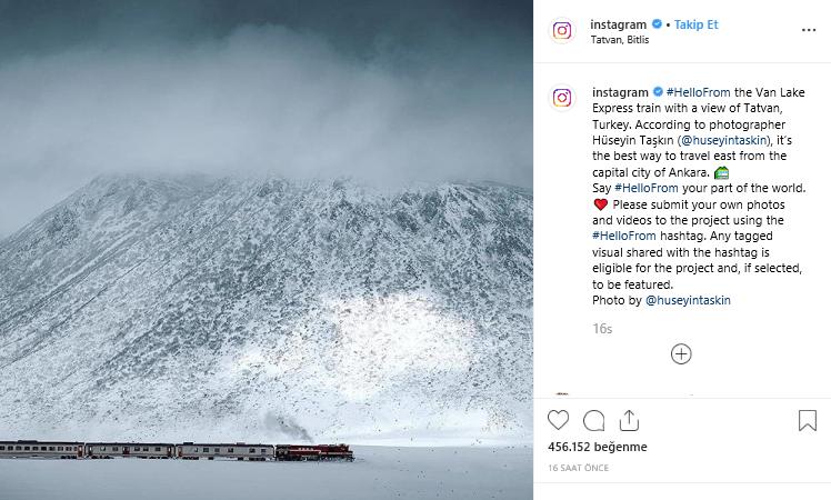Instagram'ın resmi hesabı Van Gölü Ekspresi'ni paylaştı