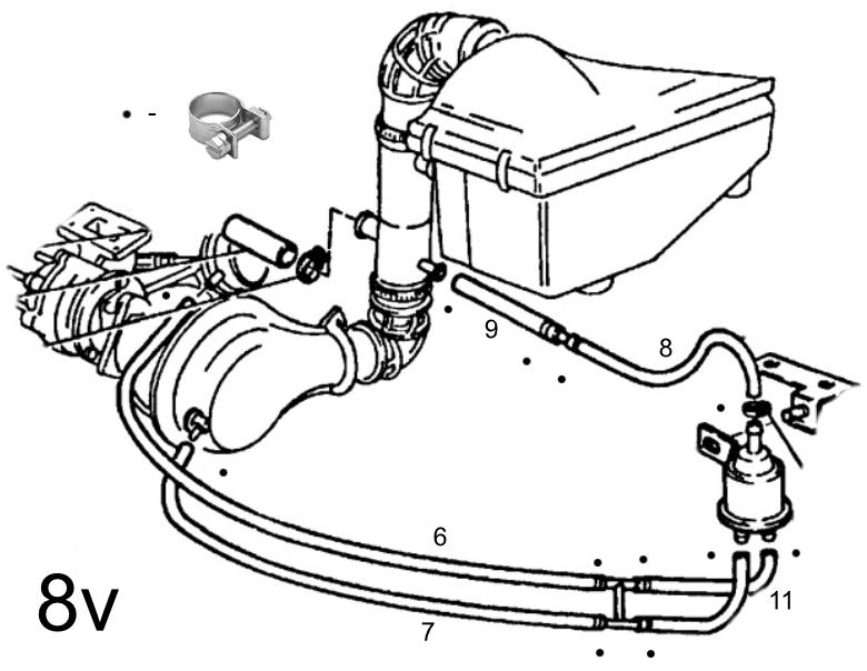 waste gate control valve hose kit for 8v only