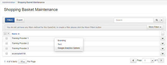 Google Analytics in Shopping Basket Options