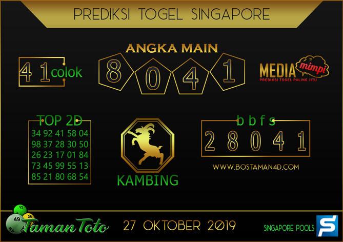 Prediksi Togel SINGAPORE TAMAN TOTO 27 OKTOBER 2019