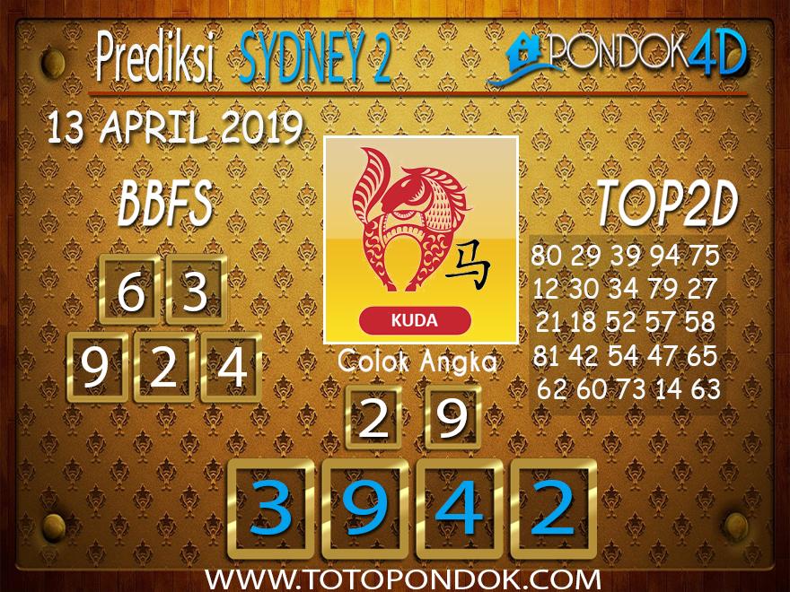 Prediksi Togel SYDNEY 2 PONDOK4D 13 APRIL 2019