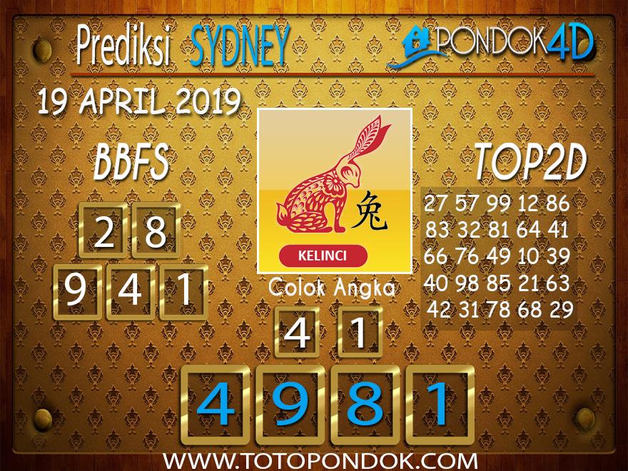 Prediksi Togel SYDNEY PONDOK4D 19 APRIL 2019