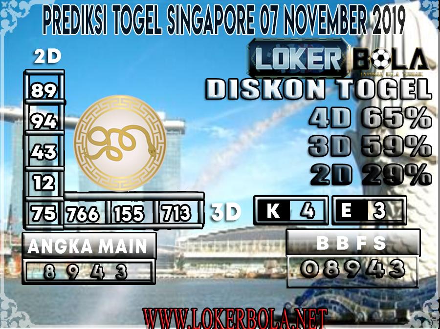 PREDIKSI TOGEL SINGAPORE LOKERBOLA 07 NOVEMBER 2019