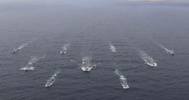 FULL-UK-CARRIER-STRIKE-GROUP-ASSEMBLED-FOR-FIRST-TIMEThe-full-UK-Carrier-Strike-Group-assembled-for