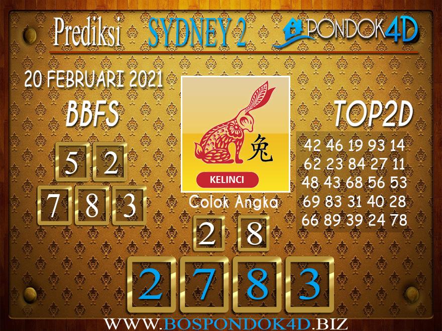 Prediksi Togel SYDNEY2 PONDOK4D 20 FEBRUARI 2021