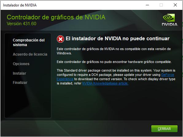 Fallo instalación Driver Nvidia