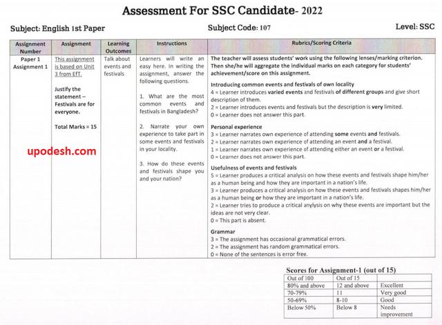 SSC Class 10 English 1st Paper 2nd Week Assignment Answer