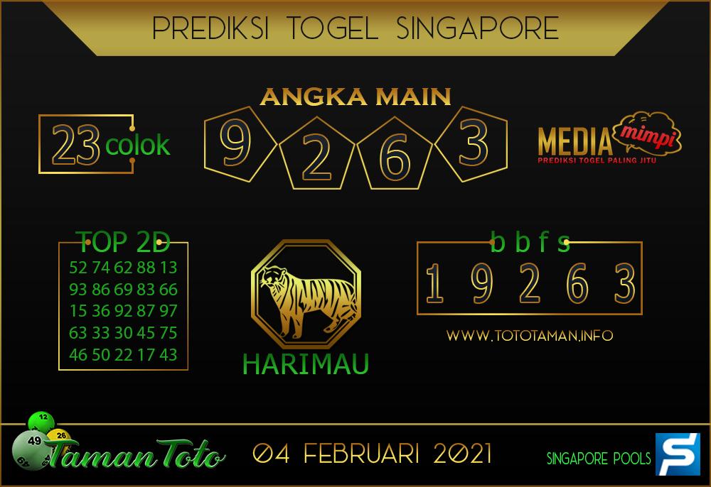 Prediksi Togel SINGAPORE TAMAN TOTO 04 FEBRUARI 2021