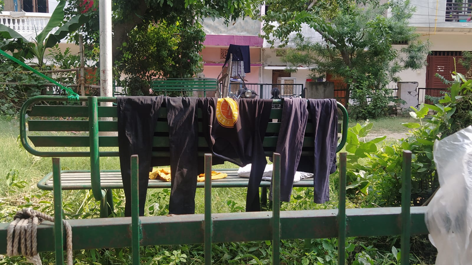 bench turned into a space to dry clothes