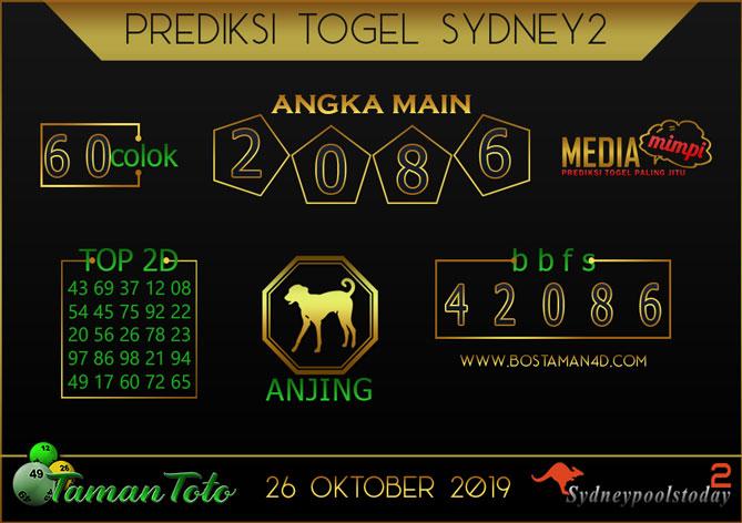 Prediksi Togel SYDNEY 2 TAMAN TOTO 26 OKTOBER 2019