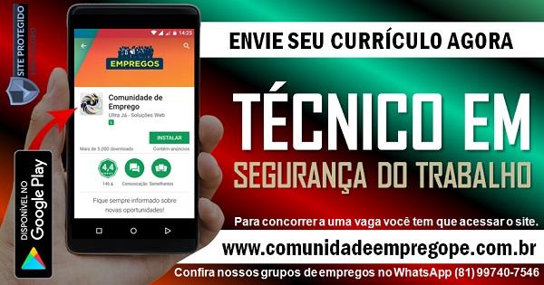 TÉCNICO EM SEGURANÇA DO TRABALHO, 02 VAGAS COM SALÁRIO DE R$ 1500,00 PARA EMPRESA NO RECIFE