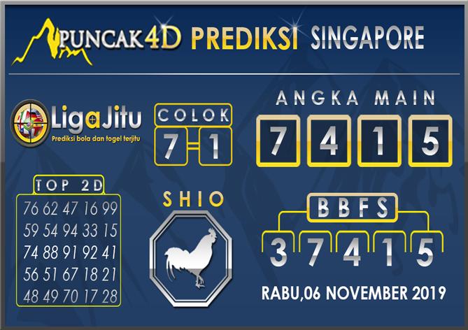 PREDIKSI TOGEL SINGAPORE PUNCAK4D 06 NOVEMBER 2019