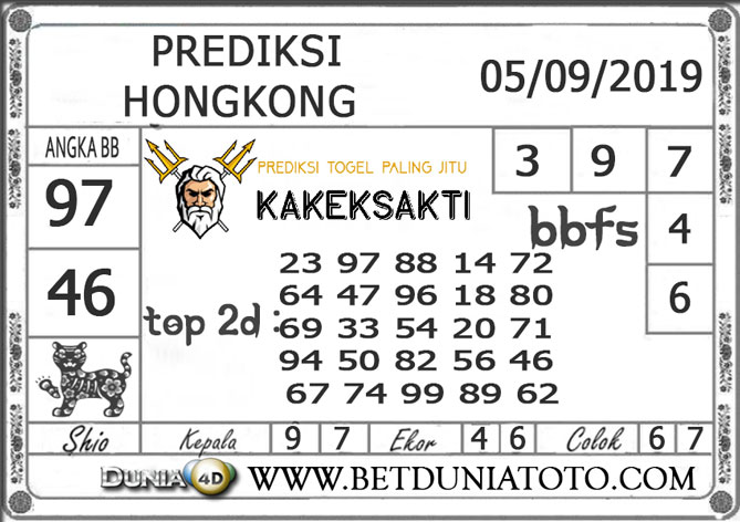 "Prediksi Togel ""HONGKONG"" DUNIA4D 05 SEPTEMBER 2019"