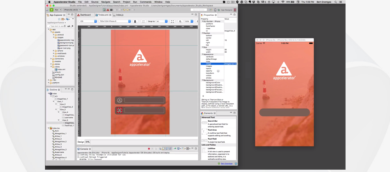 This is what the Appcelerator Titanium interface and its features look like