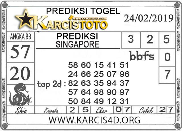 Prediksi Togel SINGAPORE KARCISTOTO 24 FEBRUARI 2019