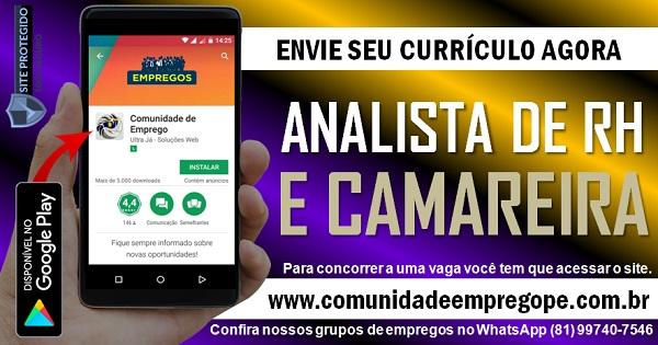 ANALISTA DE RH E CAMAREIRO PARA CONSULTORIA LOCALIZADA NO RECIFE