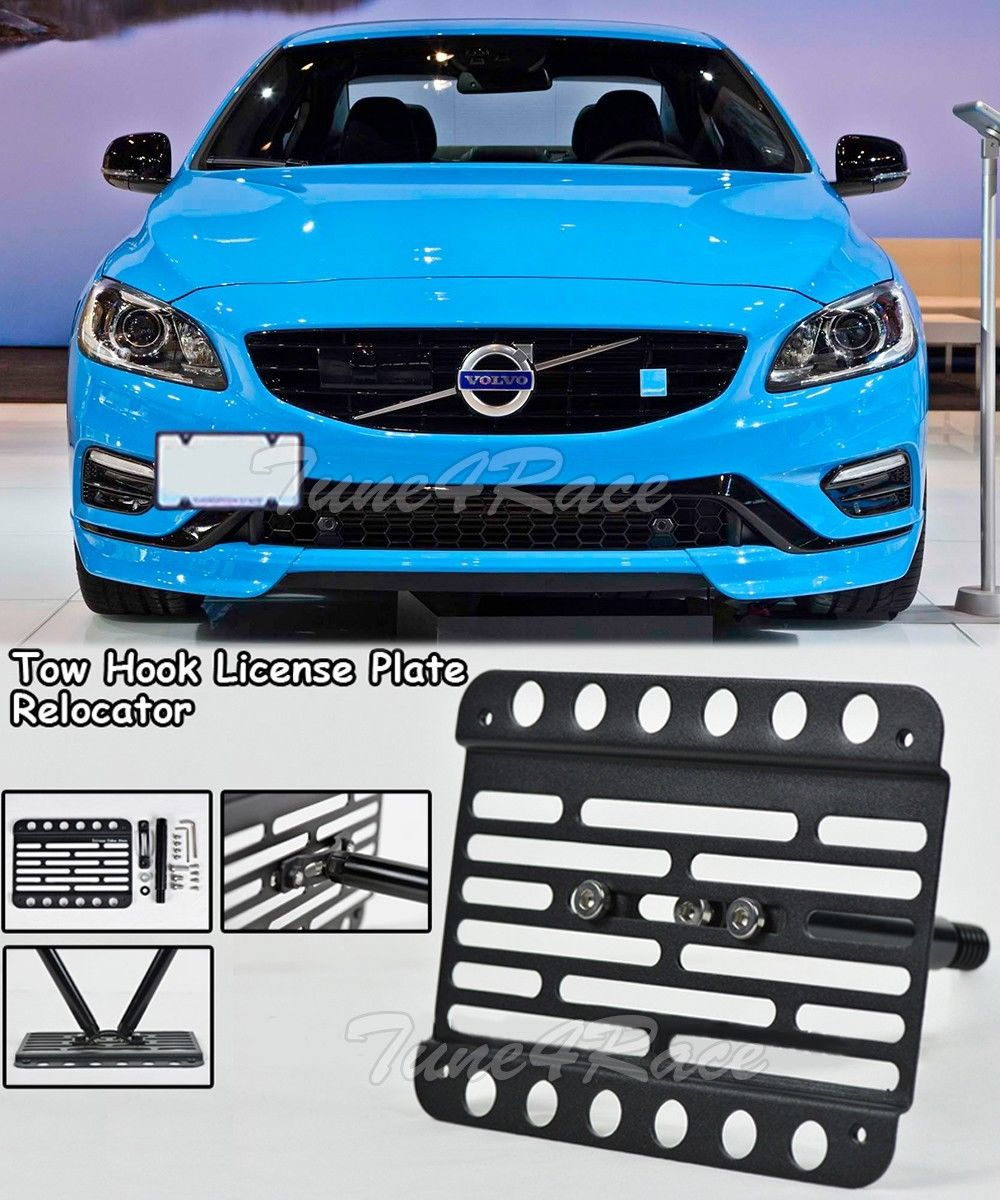 EOS Plate For 18-Up Volvo XC60 Front Bumper Tow Hook License Mount Bracket